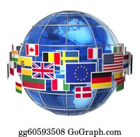 Globe-Flags - International Communication Concept