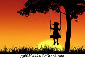 Sad-Child - Silhouette Of Girl On Swing