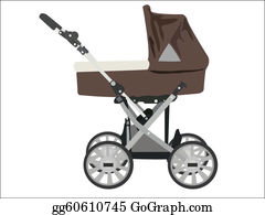 Seat-Belt - Zoomed Baby Stroller Vector Image