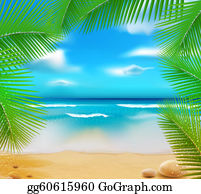 Palm-Tree - Vetorny Landscape With A Sky-Blue Ocean, Golden Sands And Palm