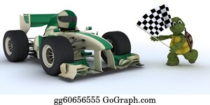 Race-Car - Tortoise In Race Car Winning At Che