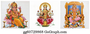 Ganesha - Composition With Lakshmi And Ganesha Hindu Gods