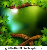 Color-Rain -  Background Of The Mystical Mysterious Forest With Trees A