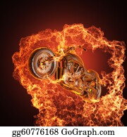 Motorcycle - Chopper Bike In Fire