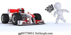 Race-Car - Man In Race Car Winning At Checkered Flag