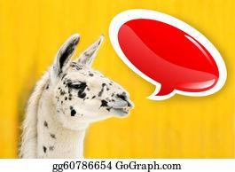 Alpaca - Funny Face White Alpaca With Speech Bubble