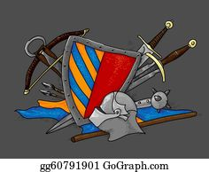 Crossbow - Shield Medieval Hand Drawing