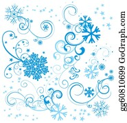 Vintage-Floral-Blue-Frame-Vector - Vector Set Of Blue Snowflakes With Flourishes And Stars Isolated On White Background