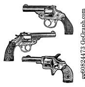 Antique-Pistols - Three Revolvers Isolated On White