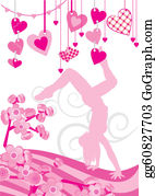 Vintage-Floral-Blue-Frame-Vector - Pink Hearts And Dancing Girl