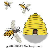Bee-Hive - Bee Hive And Swarming Bees