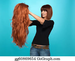 Wig - Pretty Woman Admiring Long Hair Wig