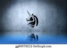 Beautiful-Unicorn - Tattoo Unicorn With Water Reflection. Illustration Design Over Blue Wall