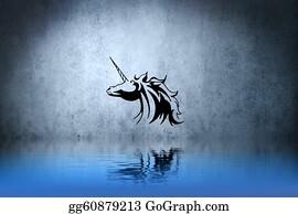 Beautiful-Unicorn - Tattoo Small Unicorn With Water Reflection. Illustration Design Over Blue Wall