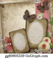 Congratulations - Vintage Background With Paper Frame,  Butterfly  And Roses For Congratulations And Invitations