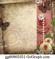 Congratulations - Vintage Background With Butterfly  And Roses For Congratulations And Invitations