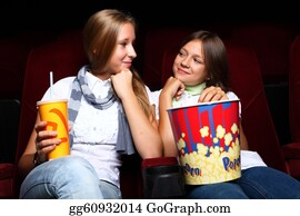 People-Watching-A-Movie - Two Young Girls Watching In Cinema