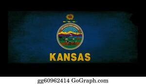 Map-Of-Kansas-Usa - Usa American Kansas State Map Outline With Grunge Effect Flag