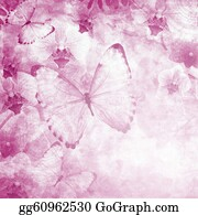 Orchid-Flower - Butterflies And Orchids Flowers Pink Background  ( 1 Of Set)