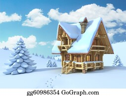 Cabin - Winter Or Christmas Scene