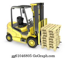 Hydraulic - Yellow Fork Lift Truck, With Stack Of Pallets