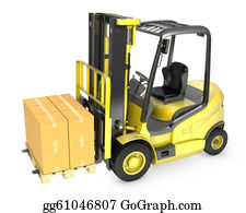 Hydraulic - Yellow Fork Lift Truck With Stack Of Carton Boxes