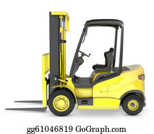 Hydraulic - Yellow Fork Lift Truck Side View