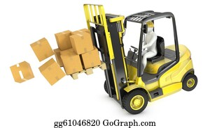 Hydraulic - Overloaded Yellow Fork Lift Truck Falling Forward