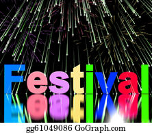 Festival - Festival Word With Fireworks Showing Entertainment Event Or Part