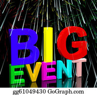Festival - Big Event Words With Fireworks Shows Upcoming Festival Concert Or Occasion