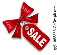 Bow-Tie - Sale Price Tag With Red Ribbon Bow Tie