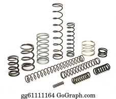 Metal-Spring - Various Metal Springs Over White