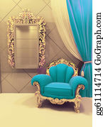 Upholstery - Royal  Furniture In A Luxurious Interior, Velvet Upholstery