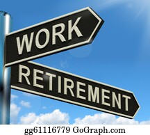 Retirement - Work Or Retire Signpost Showing Choice Of Working Or Retirement