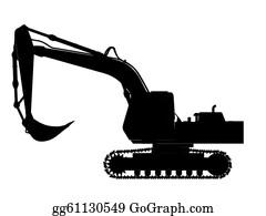 Cement-Truck - Excavator Silhouette Outline