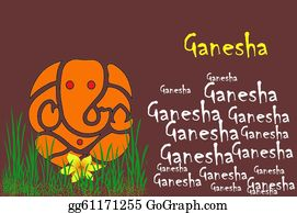 Ganesha - Illustration - Lord Ganesha With Flower