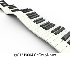 Music-Notes-On-Piano-Keyboard - 3d Wavy Keyboard