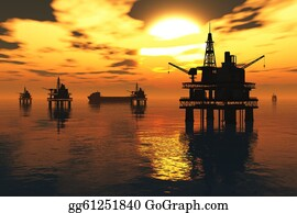 Drilling-Rig - Sea Oil Platform And Tanker
