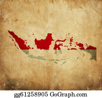 Indonesia - Vintage Map Of Indonesia On Grunge Paper