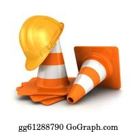 Roadworks - 3d Traffic Cones, A Safety Helmet