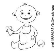 Babies-And-Toddlers-Silhouettes - Baby With A Toys, Outline