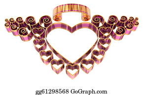Golden-Love-Hearts - Beautiful Twisted Frame With Hearts And Curls