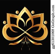 Golden-Lotus-Flower-Logo - Lotus Flower With Ornaments In Gold