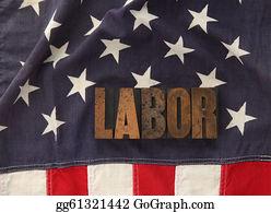 Labor-Union - Labor Word On American Flag