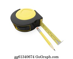 Pencil-Case - 3d Illustration: Pencil And Ruler On A White Background