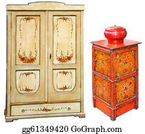Classic-Victorian-Pattern - Old Painted Wooden Cabinets
