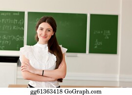 Teacher - Teacher On Background Of Blackboard