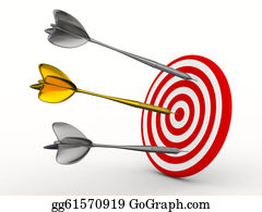 Bullseye - Dart On A White Background. Isolated 3d Image