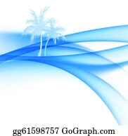 Palm-Tree - Palm Trees And Abstract Waves Of The Sea.