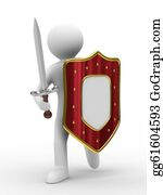 Sword - Knight With Sword On White Background. Isolated 3d Image